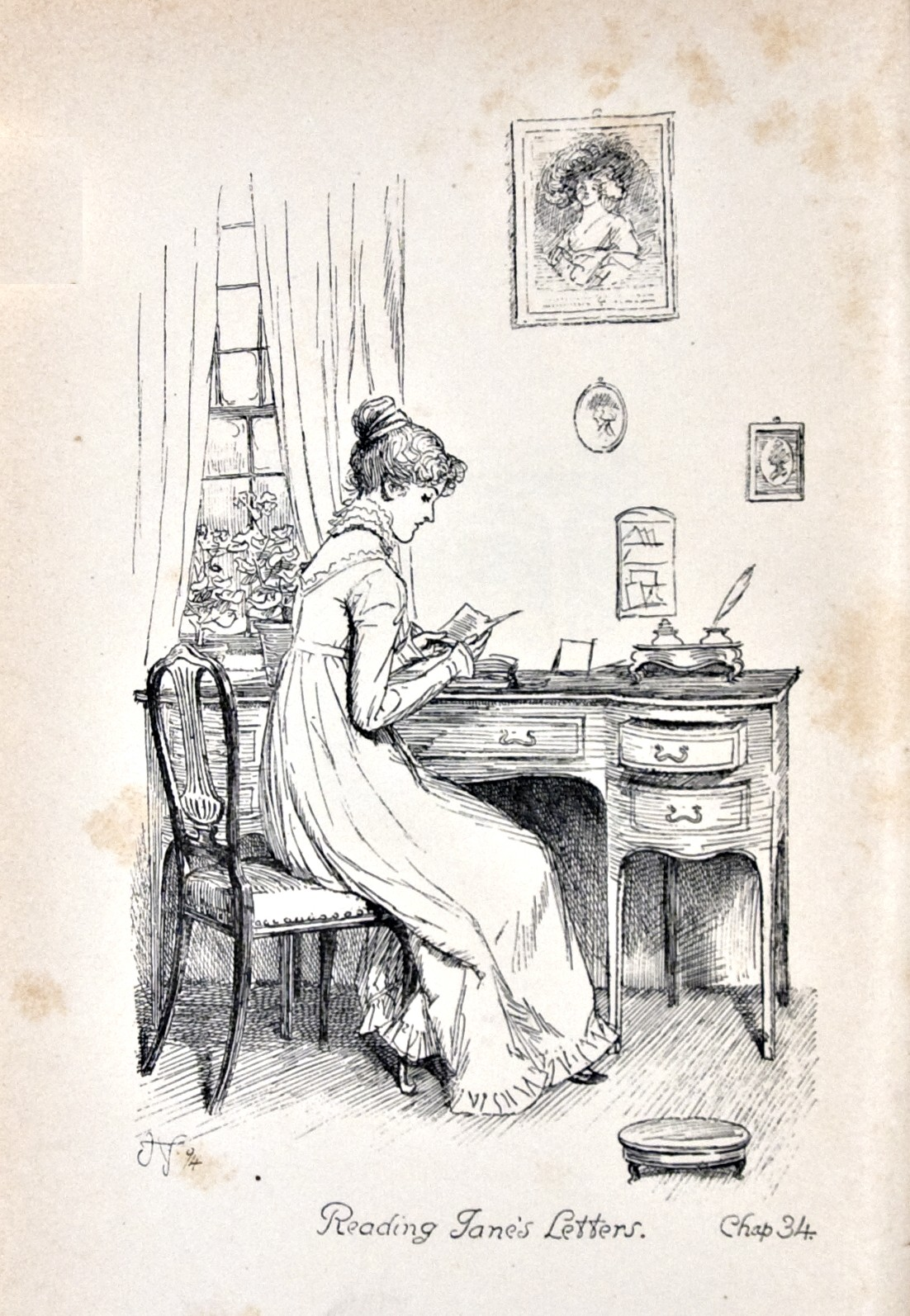 Pride and Prejudice, illustr. by H. Thomson: Reading Jane´s letters