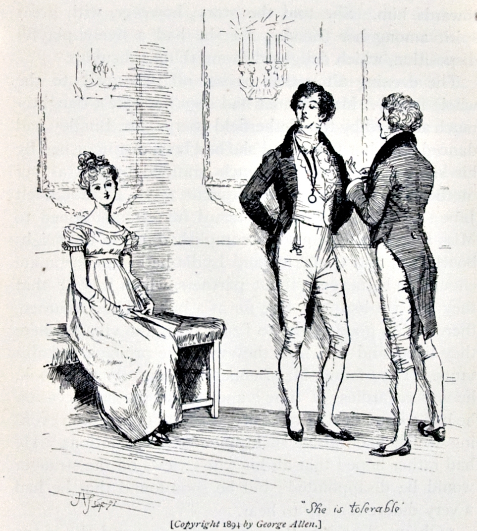 Pride and Prejudice, illustr. by H. Thomson: She is tolerable