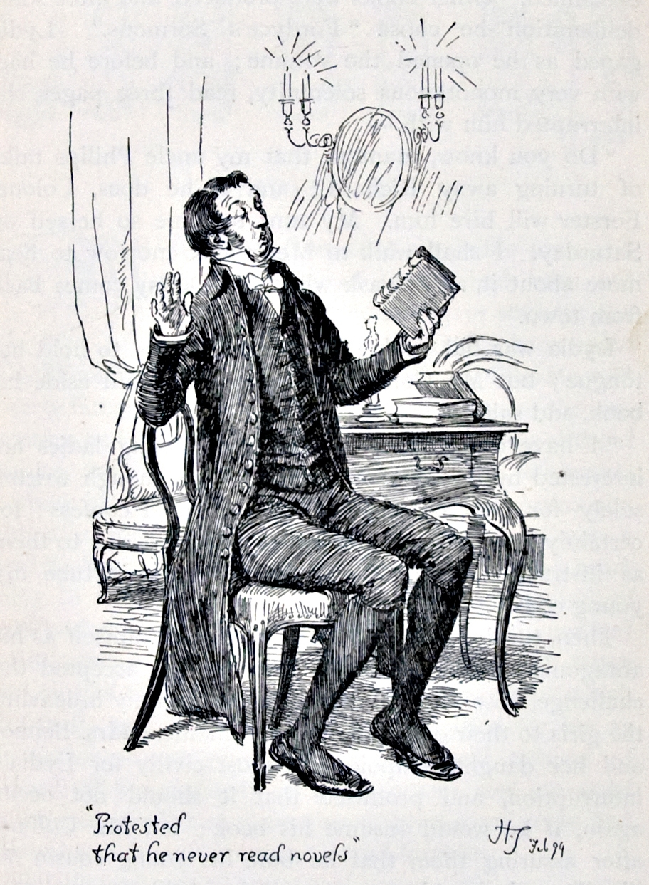 Pride and Prejudice, illustr. by H. Thomson: Protested that he never reads novels