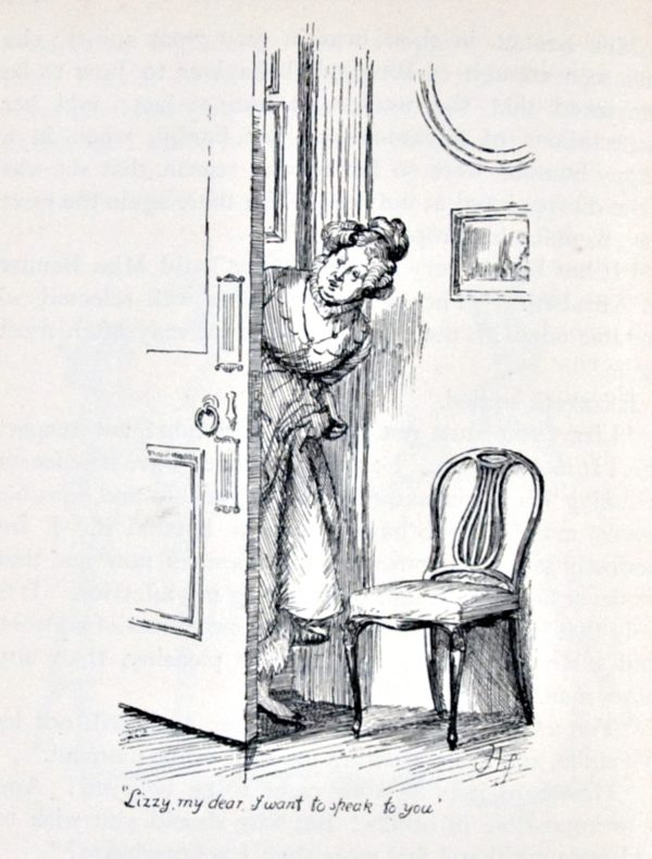 Pride and Prejudice, illustr. by H. Thomson: Lizzy, my dear, I want to speak to you